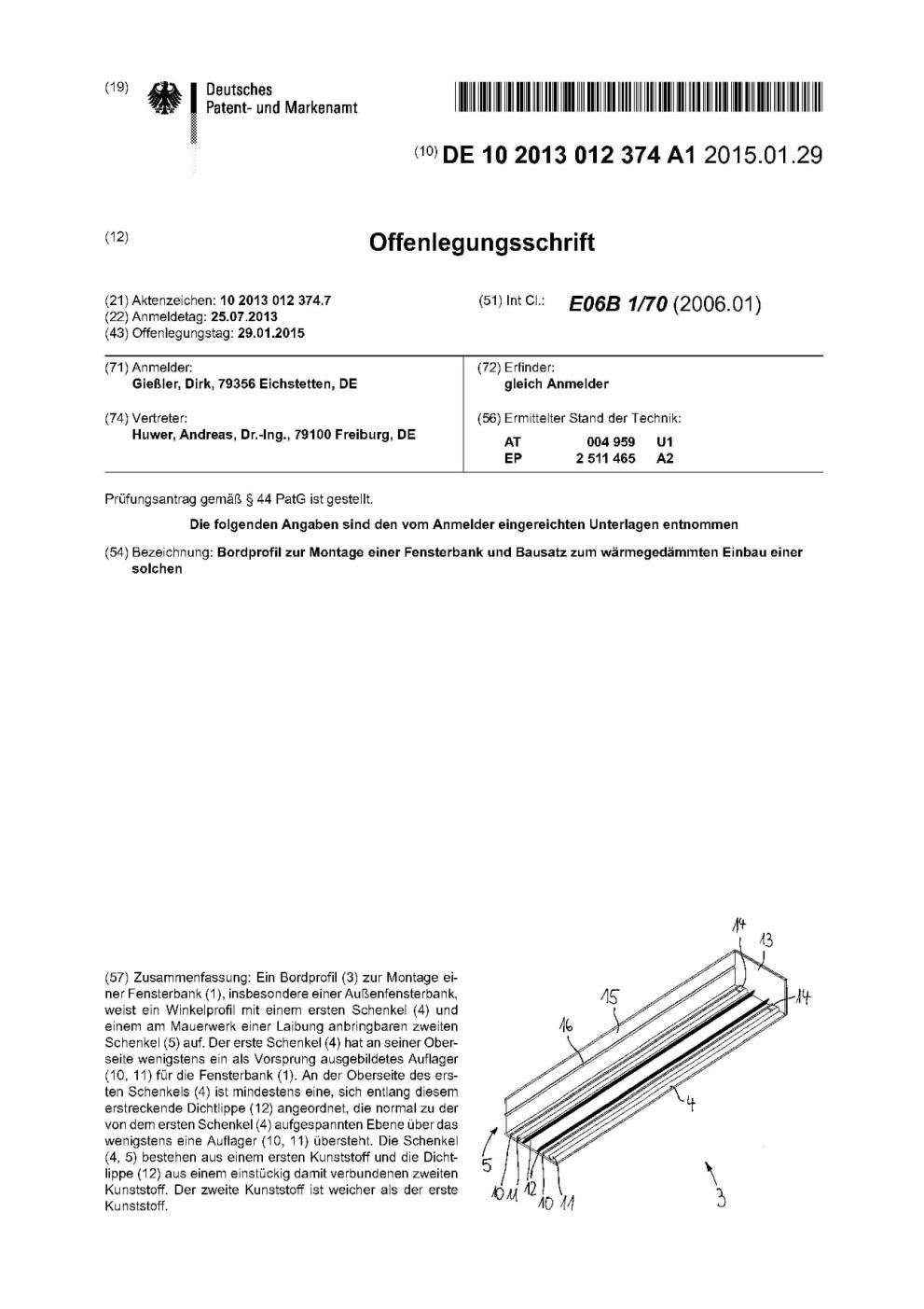 Offenlegungsschrift Patent